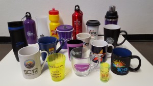 My SC drinking mug, glasses, and bottles collection -- Picture by Bernd Mohr