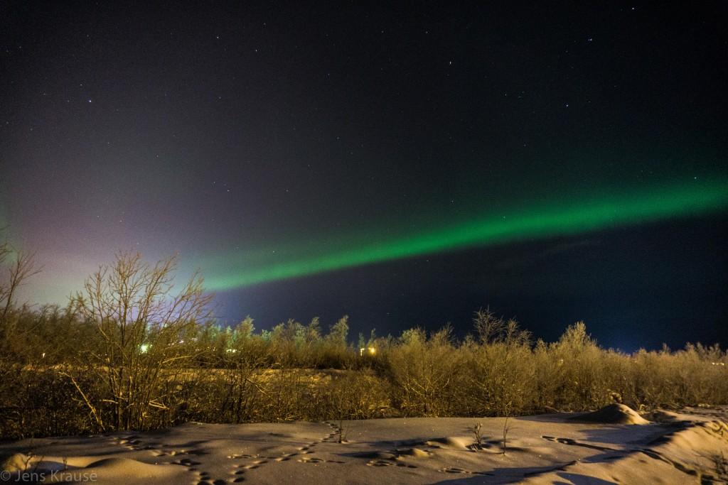 Aurora over Kiruna. Picture by Jens Krause, Johannes Gutenberg-University Mainz.