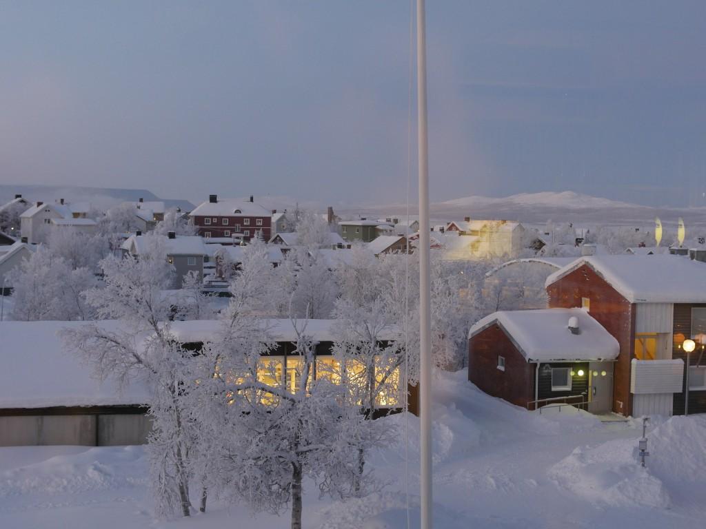 View from the breakfast room of Folkhögskola Kiruna. Picture by Peter Preusse, FZJ.
