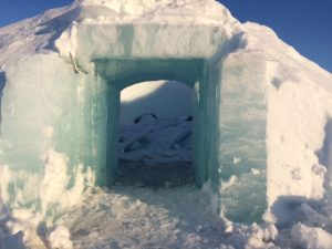 At the ice hotel, one igloo already broke down