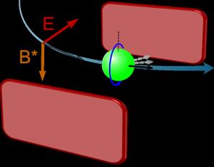 Präzession im Magnetfeld des bewegten Teilchens aufgrund eines magnetischen Dipolmoments (Bild: VH)