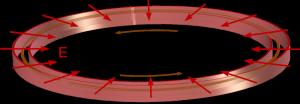 Elektrischer Ring zur Speicherung geladener Teilchen. Die inneren und äußeren Platten sind entgegengesetzt geladen und erzeugen ein elektrisches Feld. (Bild: VH)
