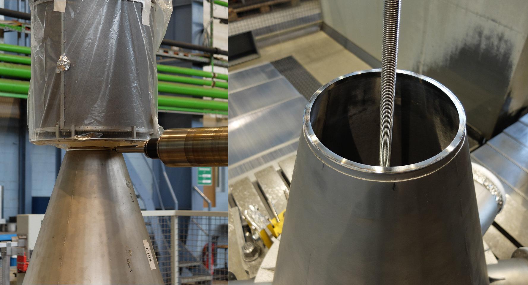 Der Konus wird in der Zentralwerkstatt bearbeitet (Bild: VH / Forschungszentrum)