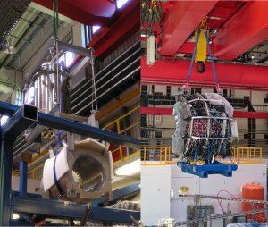 Magnetspule (links) und Kalorimeterhalbschale (rechts) am Kran (Bild: VH / Forschungszentrum Jülich)