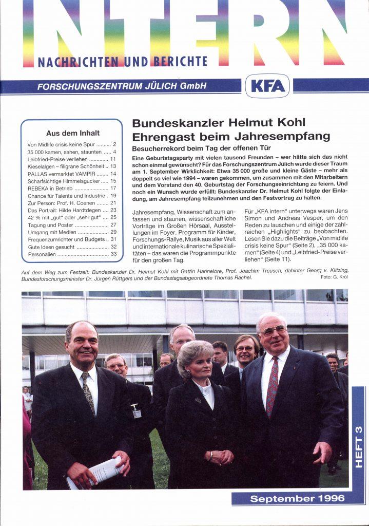 Ausgabe der Intern zum Besuch des Bundeska nzlers Helmut Kohl beim Jahresempfang 1994.